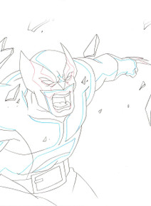 Close up of Wolverine animation art for the animated series Ultimate Spider-Man season 1, S01E09