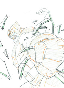 Close up of Wolverine animation art for the animated series Ultimate Spider-Man S01E09. This is a Layer Setup.