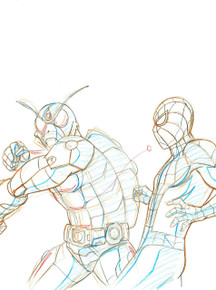 Wolverine animation art for the animated series Ultimate Spider-Man S01E24. This is a Layer Setup close up view.