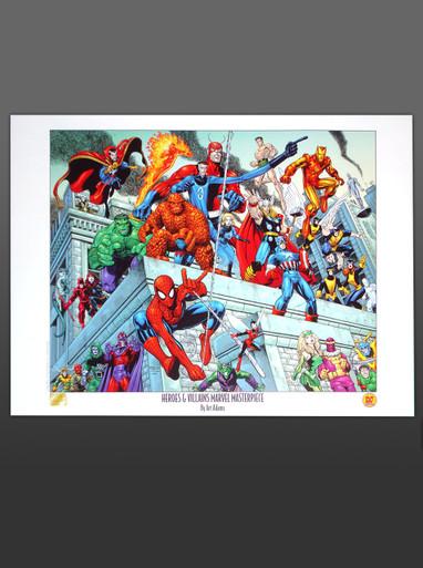 Arthur Adams Heroes & Villains Masterpiece Lithograph Marvel Comics Superheroes