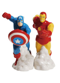 Magnetic Ceramic Salt and Pepper Shaker Set of 2, Captain America and Iron Man