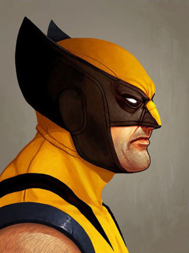 Mondo Mike Mitchell Wolverine Portrait Giclee Print Front of Marvel Artwork