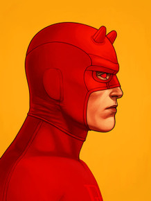 Mondo Mike Mitchell Daredevil Portrait Giclee Print Front of artwork