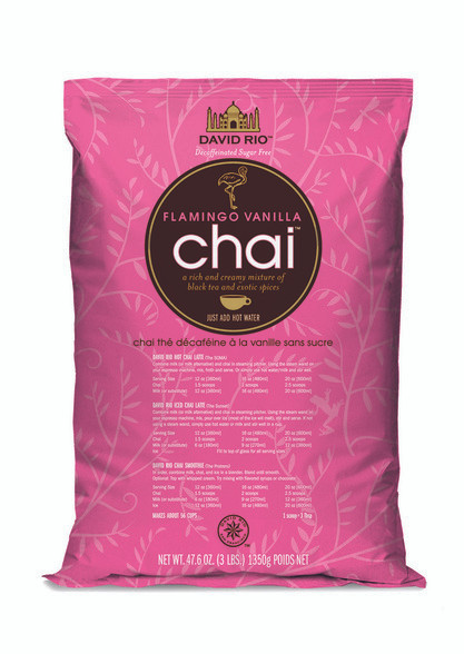 David Rio's Flamingo Vanilla, sugar-free chai is a rich and creamy mixture of black tea and premium spices like cinnamon, cardamom and vanilla, . It is delicately blended into a convenient mix that makes a perfect daily cup.  Simply mix with hot water or your choice of milk.