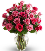 24 Long Stem Pink Roses in Assorted Shades