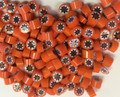 Millefiori Orange White Stars 7-8mm