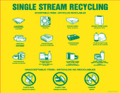 """8.5"""" X 11"""" Single Stream Recycling Decals, Acceptable Items, Bilingual Decal"""