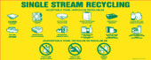 "4"" X 10"" Single Stream Recycling Decals, Acceptable Items, Bilingual Decal"