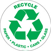 "8"" Round Recycle Paper, Plastic, Cans, Glass Decal"