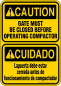 "5 x 7"" Caution Gate Must be Closed Before Operating Compactor Bilingual Decal"