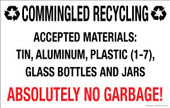 "7 x 11"" Commingled Recycling, Absolutely No Garbage, Decal"