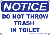 "5 x 7"" Notice Do Not Throw Trash in Toilet"