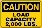 "6 x 9"" Caution Load Capacity 2,000 LBS. Decal"