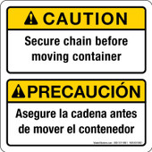 """5 x 5"""" Caution Secure Chain Before Moving Container Bilingual Sticker Decal"""
