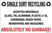 "7 x 11"" Single Sort Recycling, Plastic 1-9 Absolutely No Garbage Sticker Decal"