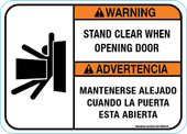 "5 x 7"" Warning Bilingual Stand Clear When Opening Door"