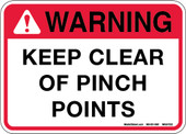 "5 X 7"" Warning Keep Clear of Pinch Points Decal"
