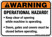 "5 x 7"" Warning Operational Hazard Decal"