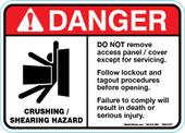 "5 x 7"" Danger Crushing Shearing Hazard, Do Not remove access panel Decal"