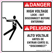 "5 x 5"" Danger High Voltage Lock Out Before Entering Bilingual Decal"