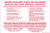 "6 x 9"" Before Each Shift Check the Following. Bilingual Decal"