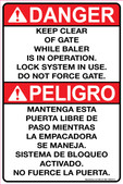 "6 x 9"" Danger Keep Clear of Gate While Baler is in Operation, Bilingual Decal"