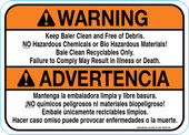 "5 X 7"" Warning Keep Baler Clean and Free of Debris, Bilingual Decal"