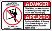 "3 x 5"" Danger Confined Space Hazard, Follow Lockout Procedures, Bilingual Decal"