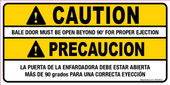 "4 x 8"" Caution Bale Door Must Be Open Beyond 90 degree, Sticker Decal"