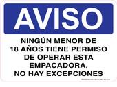 "7 x 10"" Aviso Ningun Menor De 18 Anos Tiene Permiso, Spanish Decal"