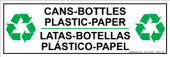 """4 x 12"""" Cans Bottles Plastic Paper Sticker Bilingual Decal"""