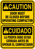 """5 x 7"""" Caution Door Must be Closed Before Operating Compactor Bilingual Decal"""