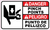 "3 x 5"" Danger Pinch Points  Bilingual Decal"
