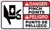 "3 x 5"" Danger Pinch Points  Bilingual Decal"
