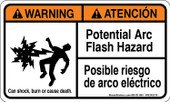 "3x 5"" Warning Potential Arc Flash Hazard Bilingual"
