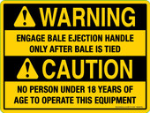 "6 x 8"" Warning Engage Bale Ejection Handle Caution Decal"