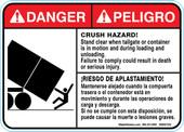 "5 x 7""  Bilingual Danger Crushing Hazard! Stand Clear Decal"