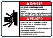 "5 x 7"" Danger Crushing Shearing Hazard, Bilingual, Do Not remove access panel"