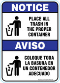 "5 x 7"" Notice, Aviso, Place all Trash in the Proper Container Decal (Bilingual)"