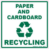 "6 x 6"" Paper and Cardboard Recycling Decal"