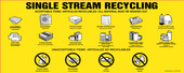 Single Stream Recycling Decals, Acceptable Items, No Pizza Boxes, No Lids, Bilingual Decal