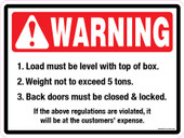 "9 x 12"" Warning Load Must Be Level, Not to Exceed 5 Tons Decal"