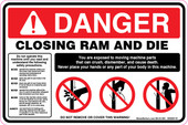 "6 x 9"" Danger Closing Ram and Die Decal"