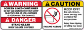 "5 x 14"" Warning Screen Lined Container, Caution Falling Hazard & Danger Stand Clear Decal"