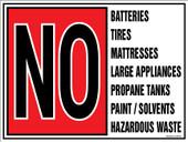 "9 x 12"" No Batteries, Tires, Mattresses, Hazardous Wastes decal"