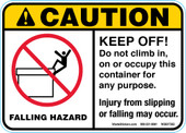 "5 x 7"" Caution Falling Hazard Keep Off 3 color Decal"