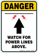 """5 x 7"""" Danger Watch for Power Lines Above Decal"""