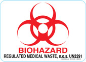"5 x 7"" Biohazard Regulated Medical Waste Decal."