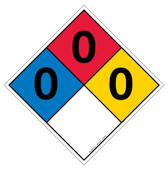 "12"" Hazard Rating Diamond Decal 0,0,0"