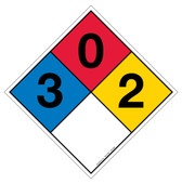 "12"" NFPA Hazard Rating Diamond Decal 3,0,2"